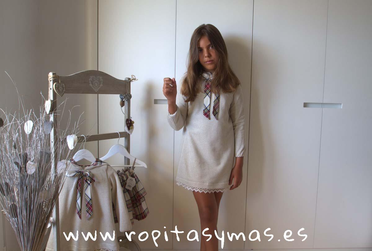 Vestido-sudadera beige lurex TARTAN YOUNG&CHIC de KAULI