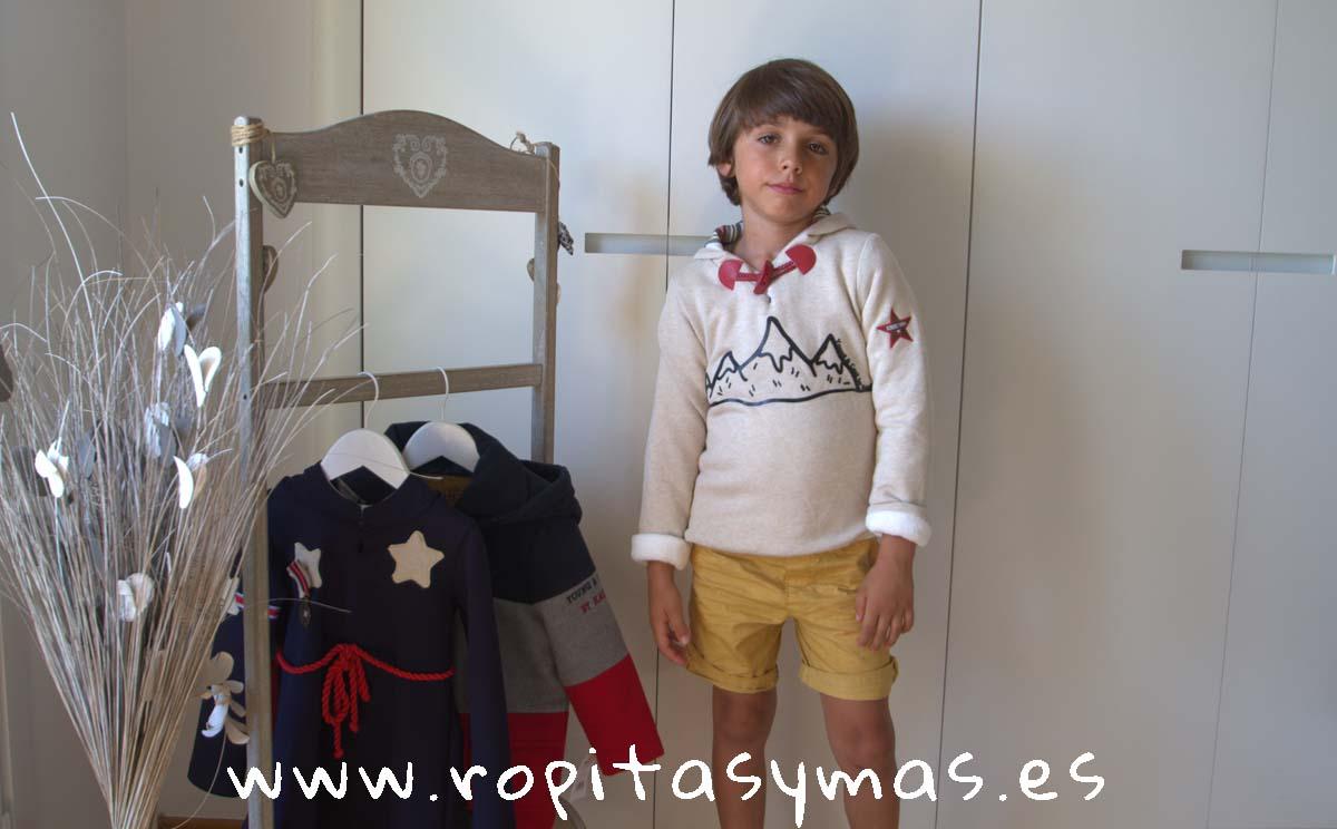 Sudadera beige TARTAN YOUNG&COOL niño de KAULI