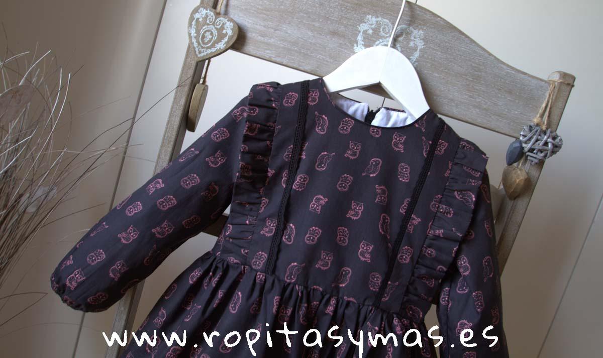 Vestido negro buhos rosas de MIA Y LIA