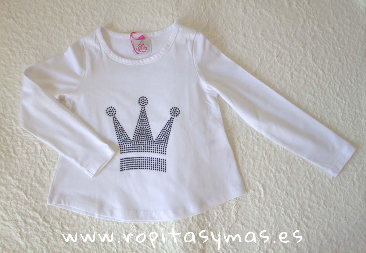 Camiseta corona strass azul EVA CASTRO niña