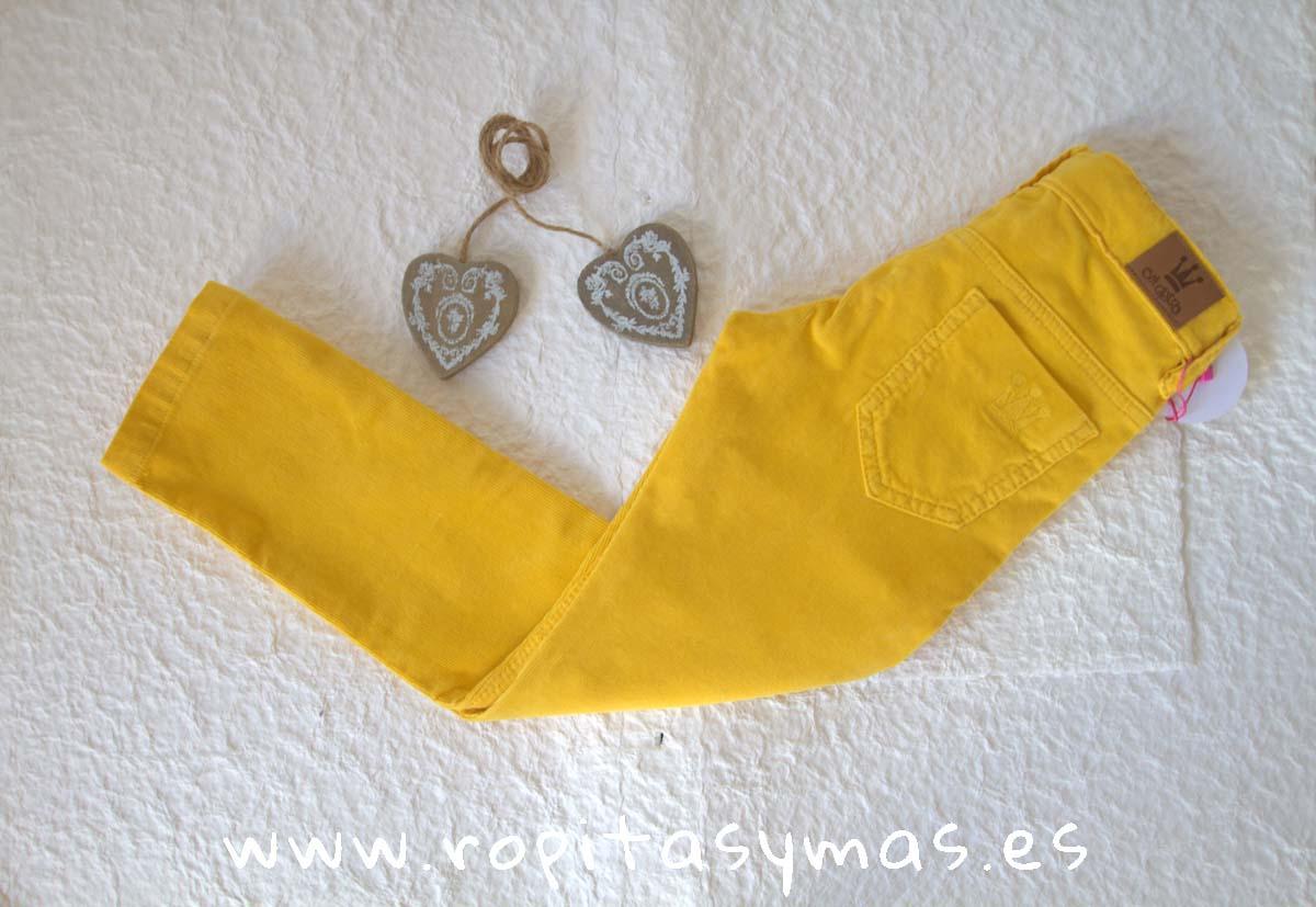Pantalón PITILLO niño mostaza de EVA CASTRO