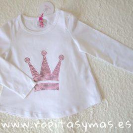 Camiseta corona strass rosa EVA CASTRO niña, invierno 2018