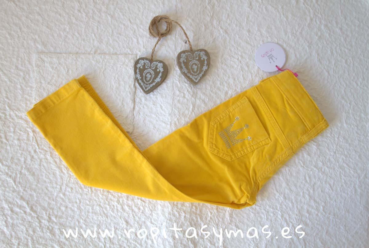 Pantalón PITILLO niña mostaza de EVA CASTRO