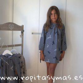Vestido azul CIERVOS de MIA Y LIA, invierno 2018