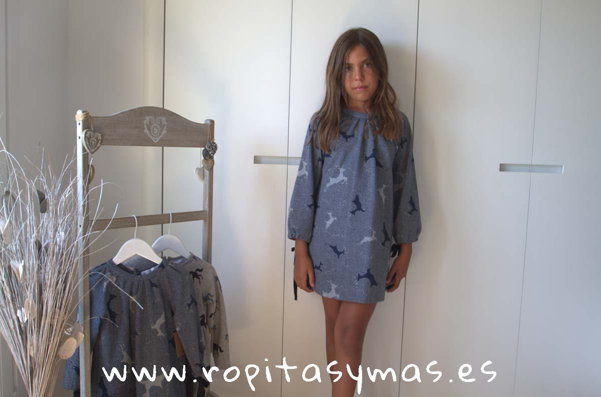 Vestido azul CIERVOS de MIA Y LIA