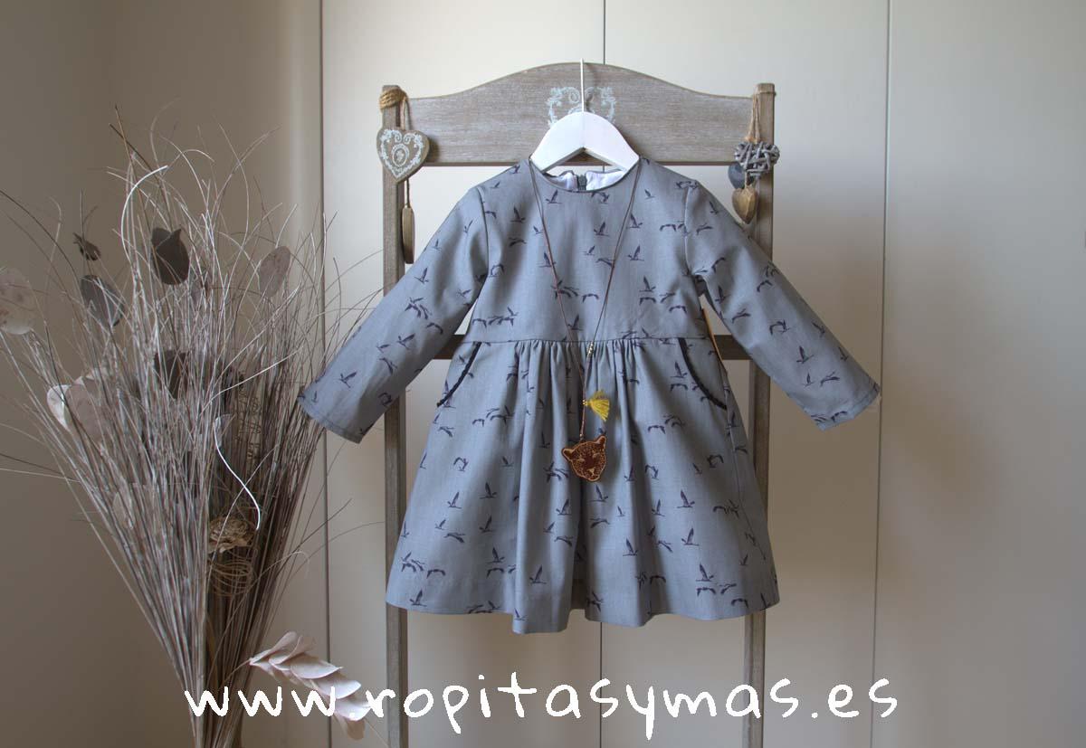 Vestido gris pájaros de MIA Y LIA