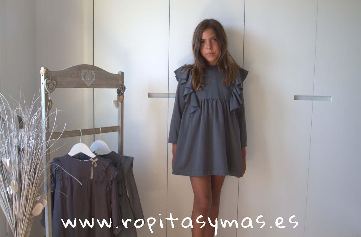 Vestido felpa gris corteza de MIA Y LIA