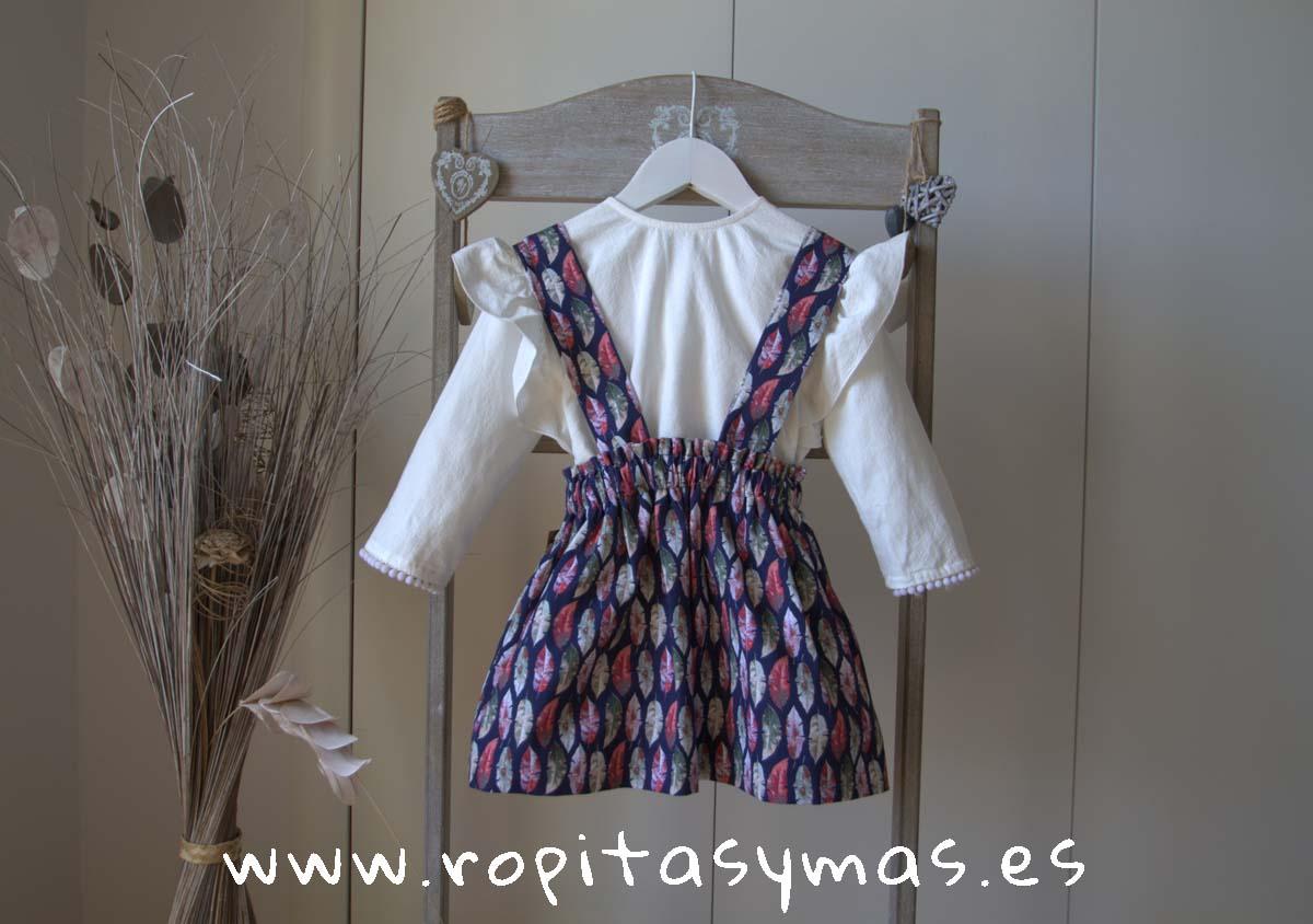 Falda gris plumas tirantes de MIA Y LIA