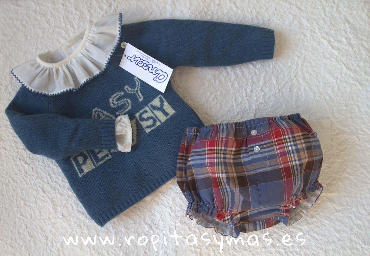 """Jersey azulón """"easy peasy"""", Camisa bebe cuello volante ribete azul y Bombacho cuadro escoces de Ancar"""
