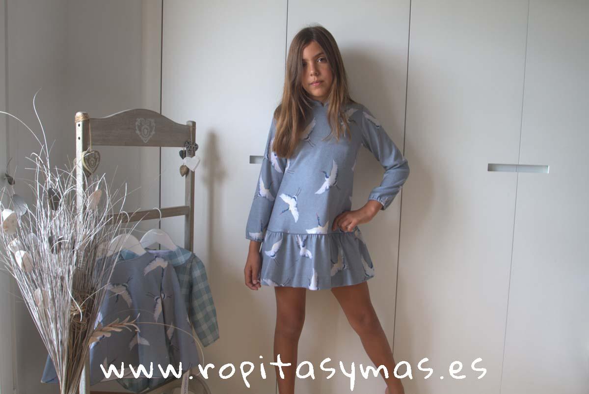 Vestido charleston faisanes azul grisáceo de ANCAR