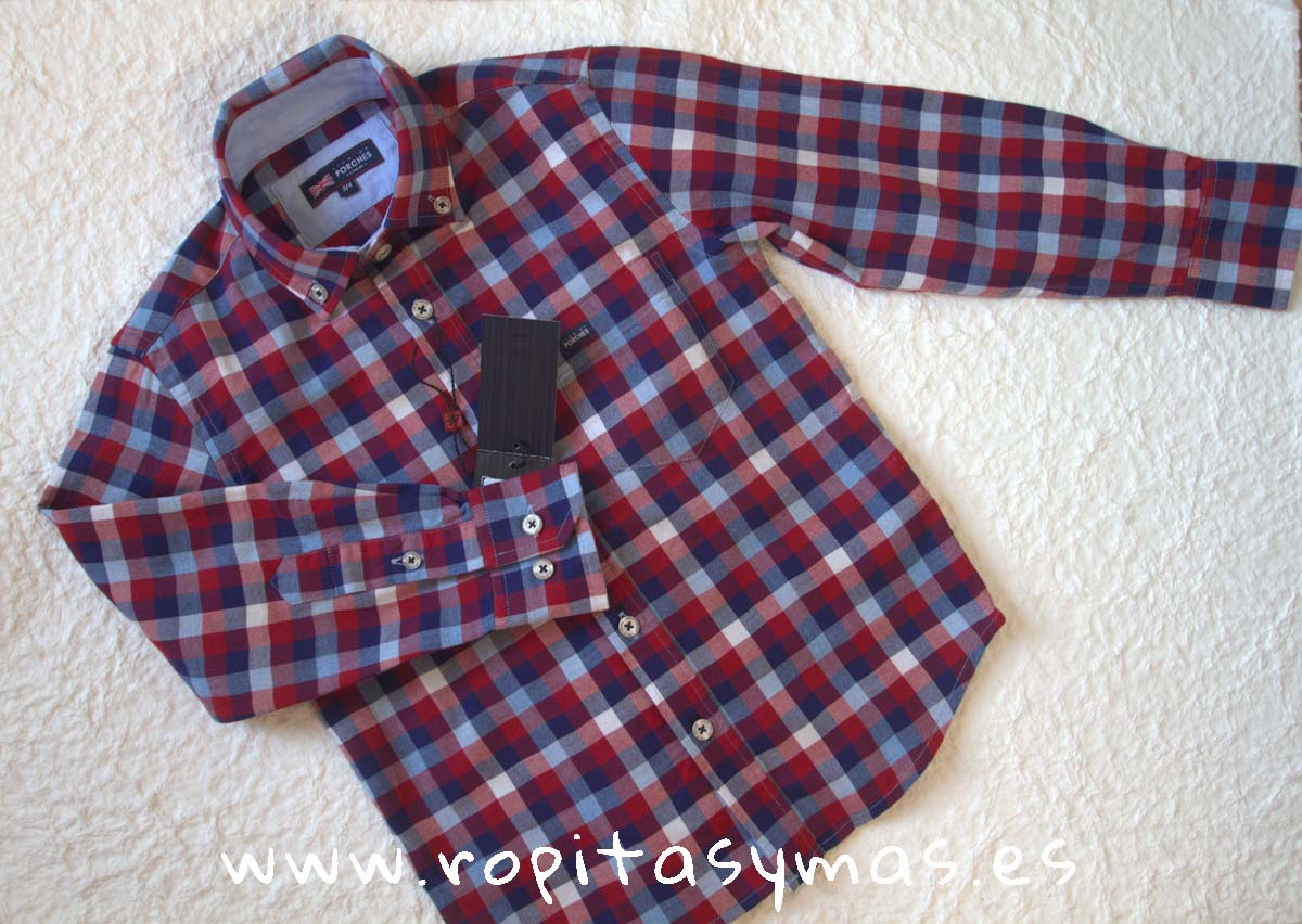 Camisa cuadros granates y azules de LION OF PORCHES