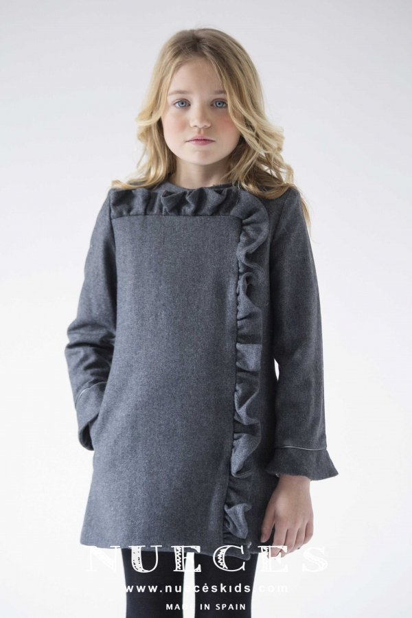 Abrigo lana gris VIOLETA de NUECESKIDS
