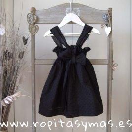 Vestido plumeti negro GRACE de LE PETIT MARIETTE, verano 2019