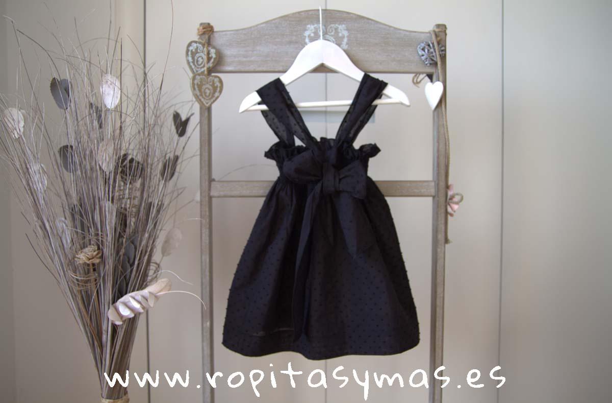 Vestido plumeti negro GRACE de LE PETIT MARIETTE