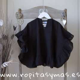 Camisola plumeti negro CLAIRE de LE PETIT MARIETTE, verano 2019