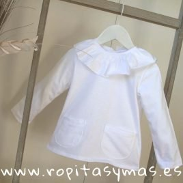 Camiseta volante blanca manga larga de ANCAR, verano 2019