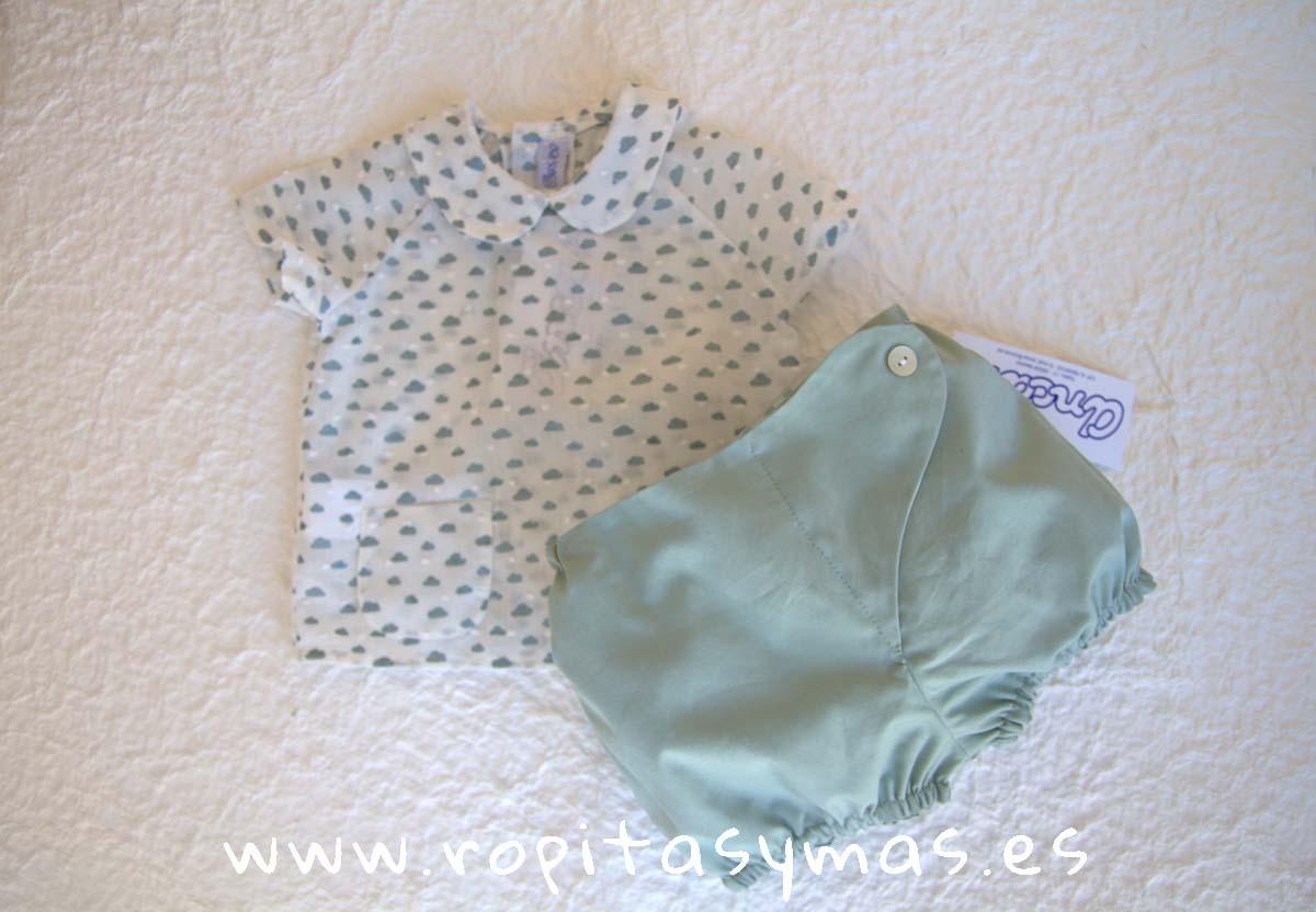 Camisa bebe y Bombacho verde agua NUBE de ANCAR