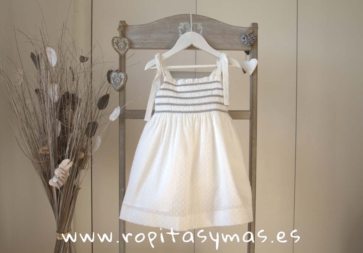 Vestido plumeti blanco nidos PECES de ANCAR