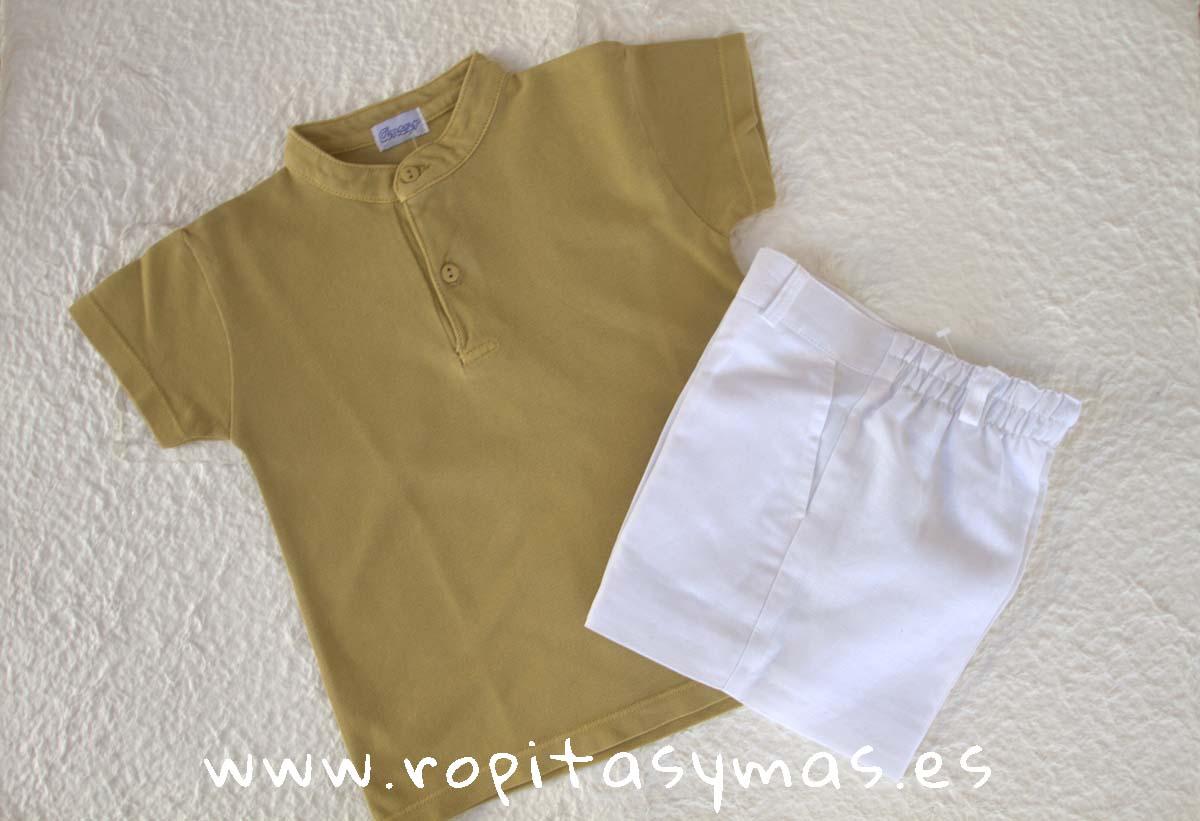 Polo mao mostaza y Pantalón corto blanco de lino de ANCAR