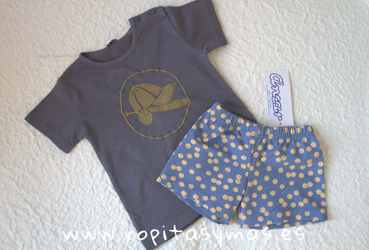 Camiseta azul grisaceo gorra PELOTAS de ANCAR