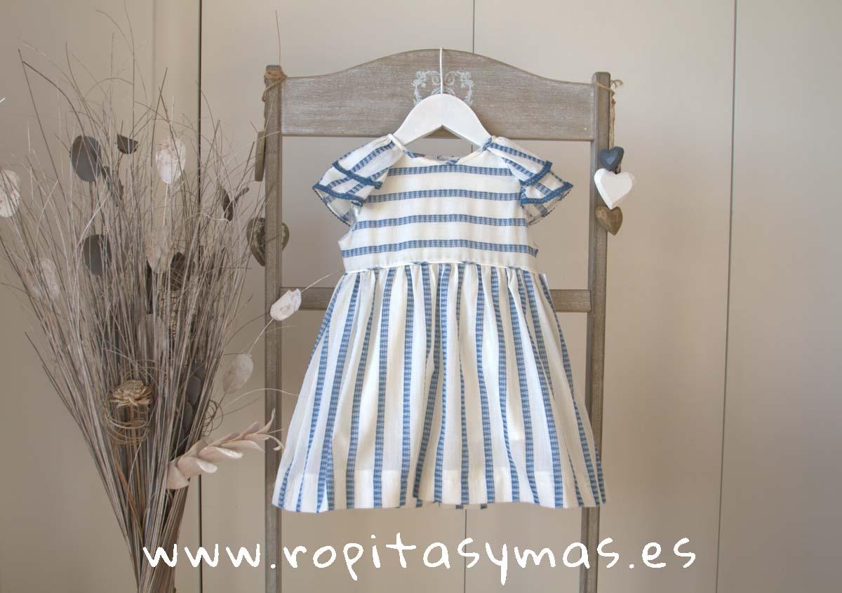 Vestido rayas geometricas azules de ANCAR