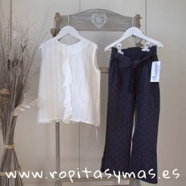 Pantalón largo azul topos PECES de ANCAR, verano 2019