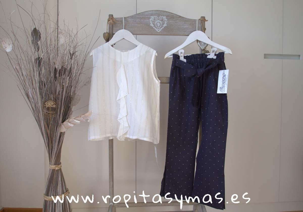 Blusa vaporosa rayas plata y Pantalón largo azul topos PECES de ANCAR
