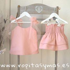 Conjunto falda rosa SHELL de EVE CHILDREN, verano 2019