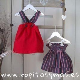 Conjunto falda rojo y jeans SKULL de EVE CHILDREN, verano 2019