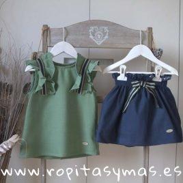 Conjunto falda azul y verde GRASS de EVE CHILDREN, verano 2019