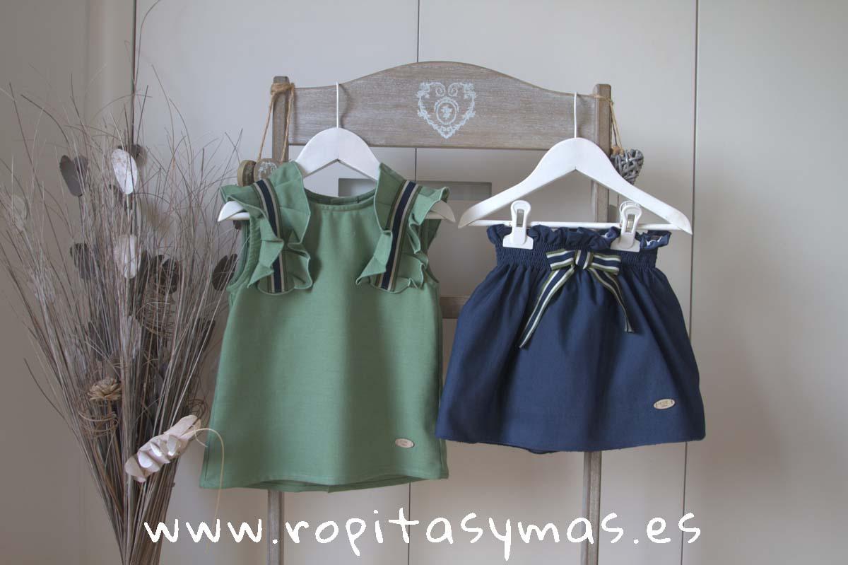 8de4aba49 Conjunto falda azul y verde GRASS de EVE CHILDREN