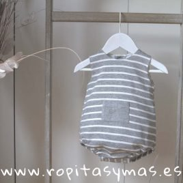 Pelele rayas grises bolsillo LIBELULA de ANCAR, verano 2019