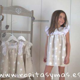 Vestido pechera arena PALMERAS de ANCAR, verano 2019