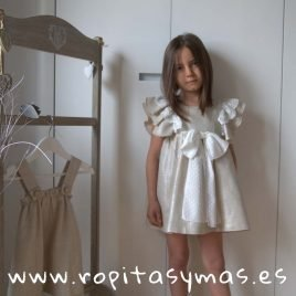 Vestido volantes tostado LINEN de EVE CHILDREN, verano 2019