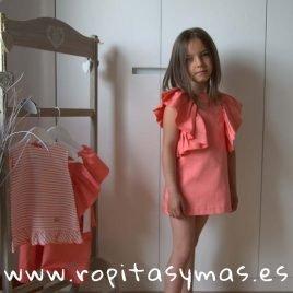 Vestido volantes coral MULET de EVE CHILDREN, verano 2019