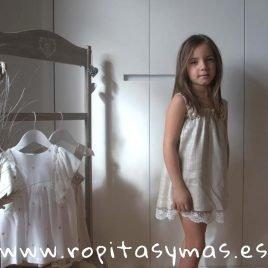 Vestido tirantes tostado LINEN de EVE CHILDREN, verano 2019