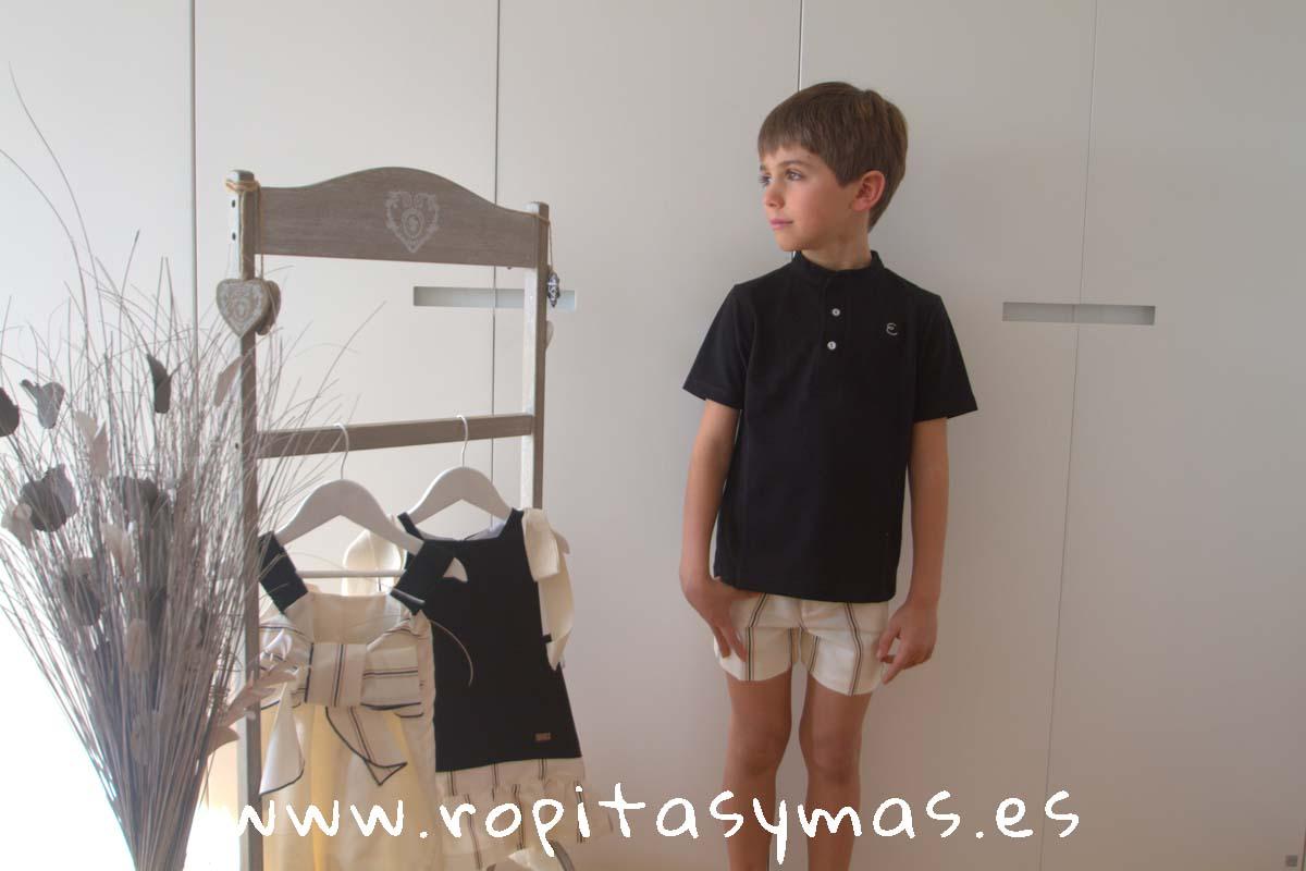 Polo mao negro y Pantalón corto rayas PARADE de EVE CHILDREN
