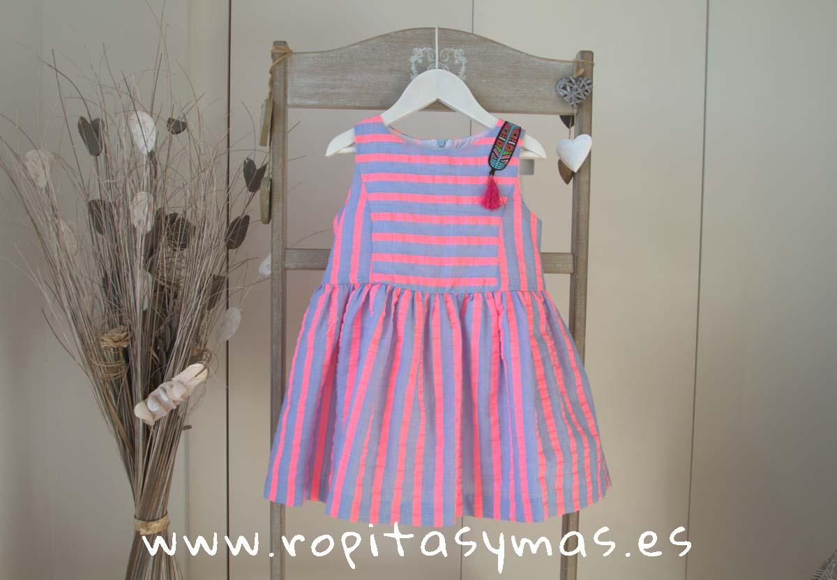 Vestido rayas rosa y azul FLUOR de MAMI MARÍA