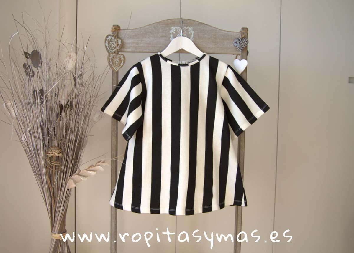 Vestido marinero rayas negras y blancas de MIA Y LIA