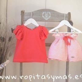 Conjunto falda rayas coral MULET de EVE CHILDREN, verano 2019