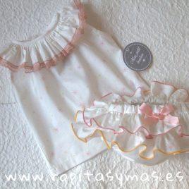 Camisa volante estrellas rosas MON PETIT BONBON, verano 2019
