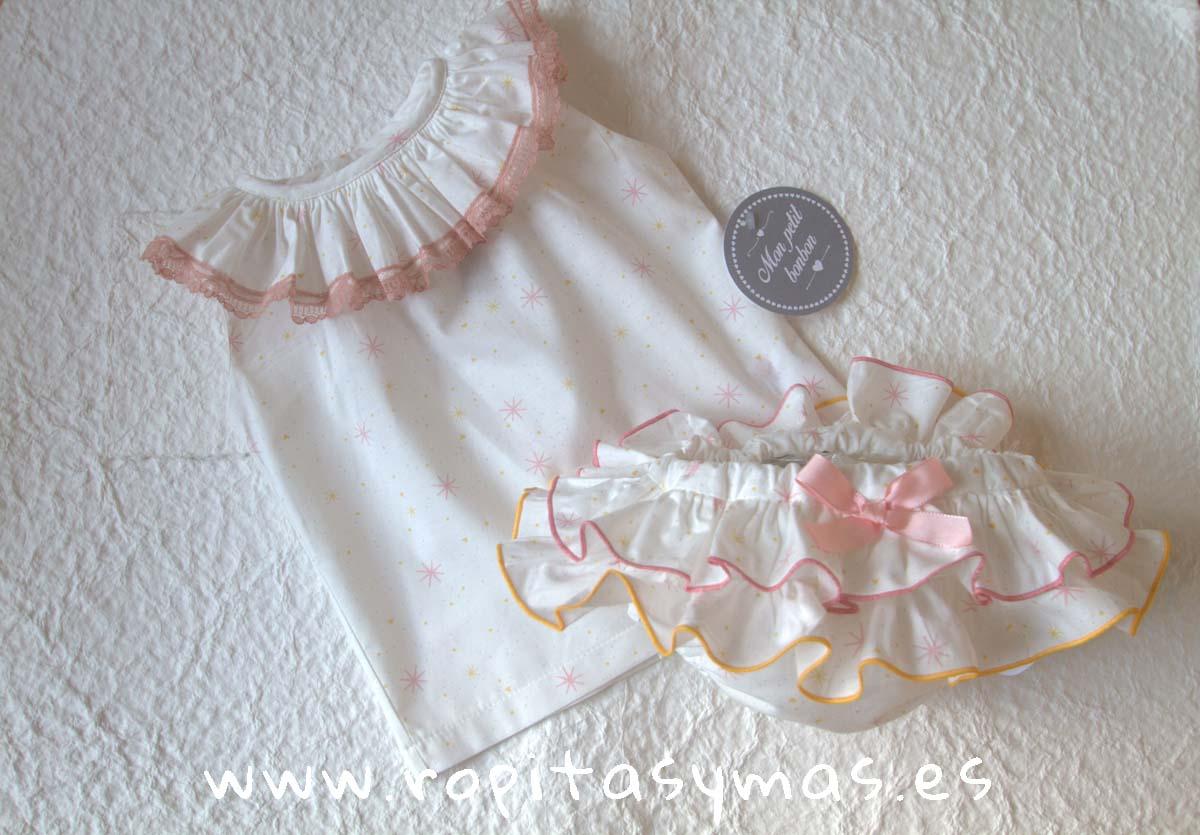 Camisa volante estrellas rosas y Braguita estrellas rosa y mostaza MON PETIT BONBON
