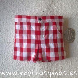 Pantalón corto vichy rojo de MON PETIT BONBON, verano 2019