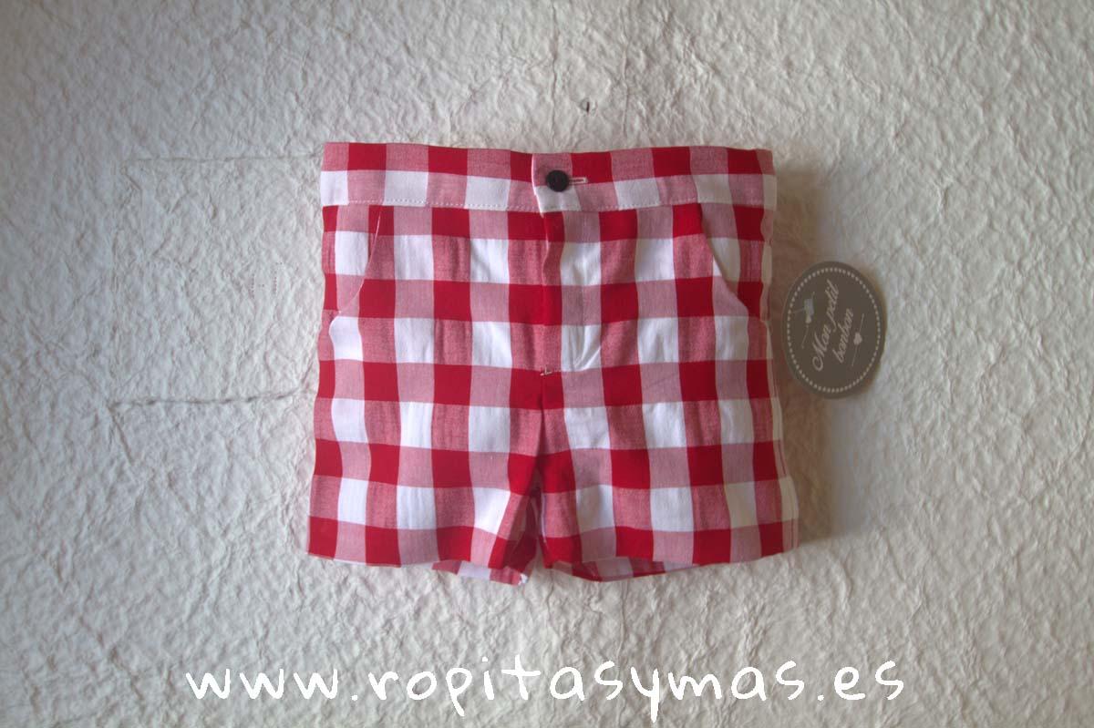 Pantalón corto vichy rojo de MON PETIT BONBON