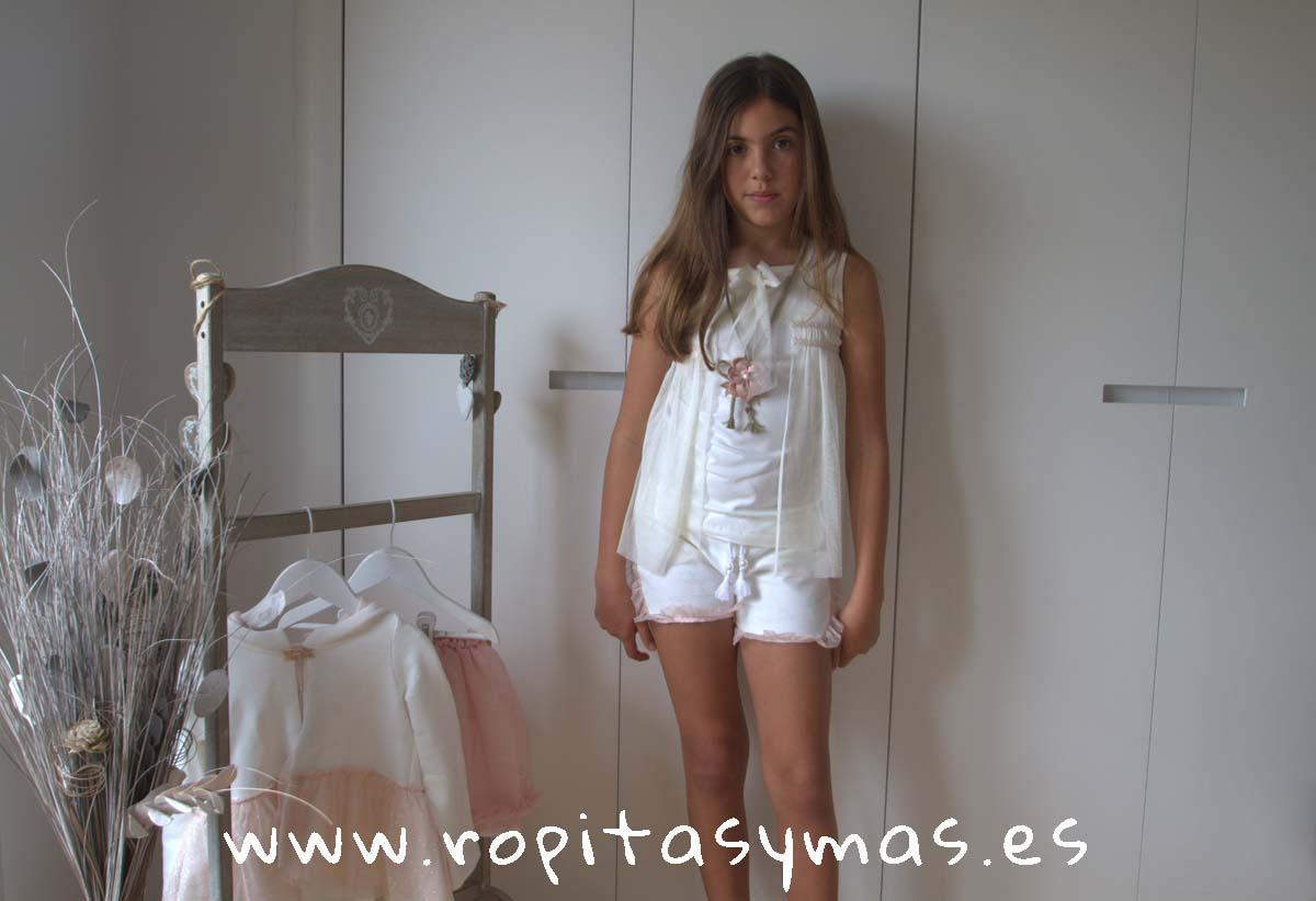 Camiseta de tul y Short felpa marfil BOHO de KAULI