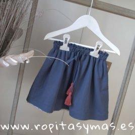 Falda azul tira bordada de MIA Y LIA, verano 2019