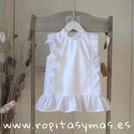 Blusa blanca pasacintas de MIA Y LIA, verano 2019