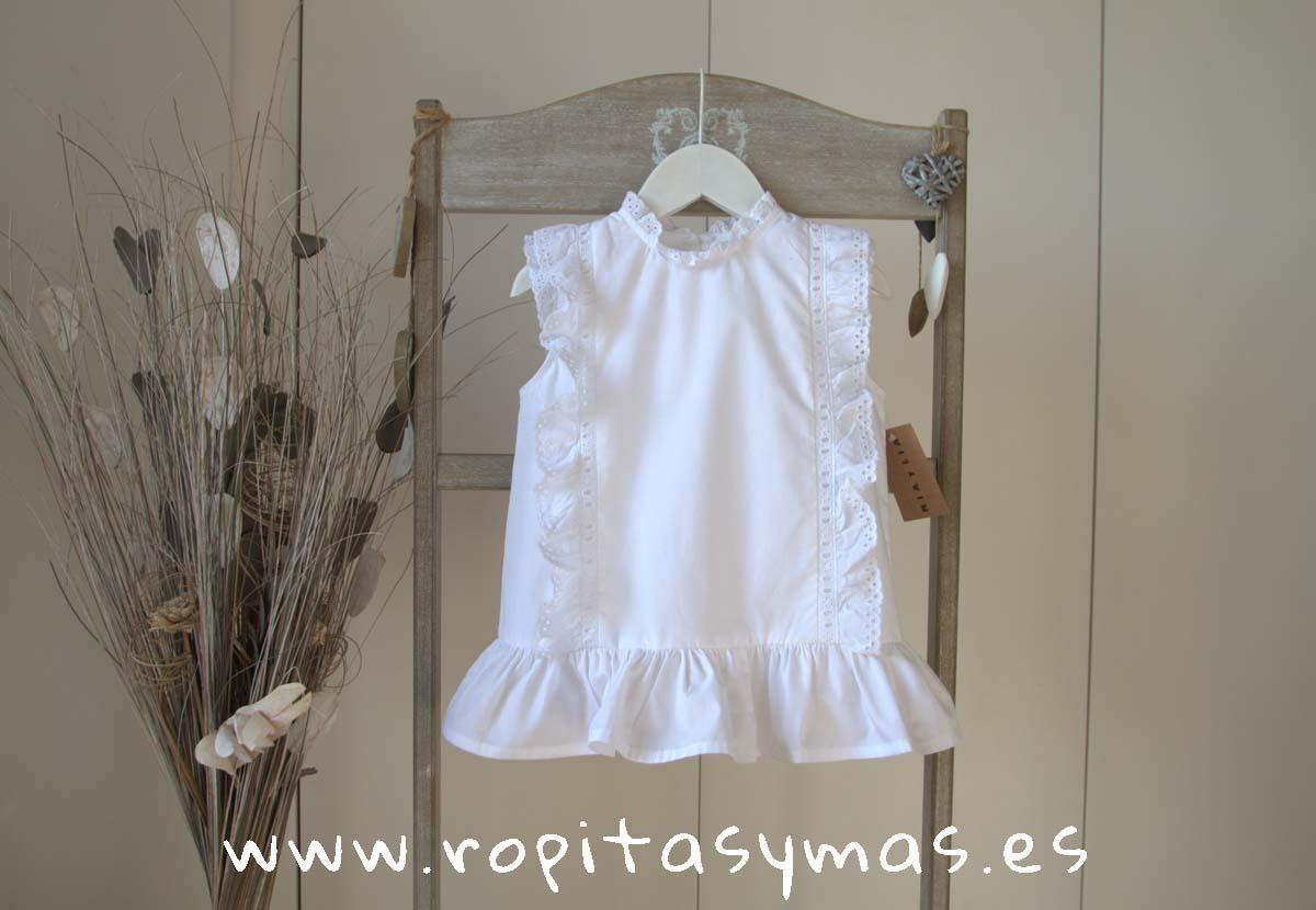 Blusa blanca pasacintas de MIA Y LIA