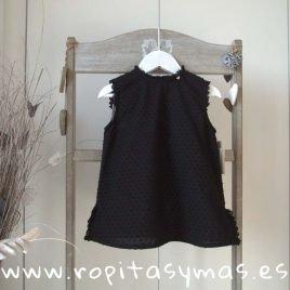 Blusa plumeti negra sin mangas de MIA Y LIA, verano 2020