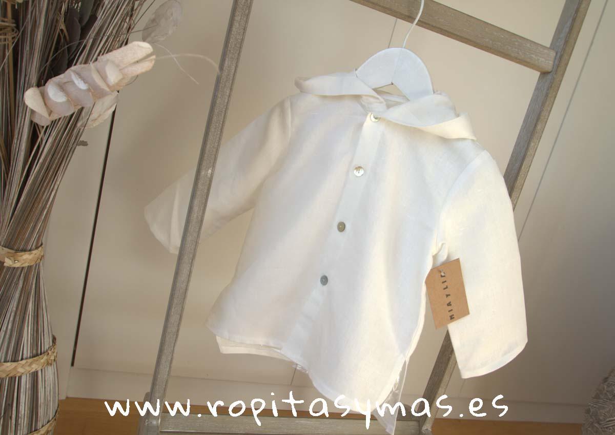 Camisa capucha lino blanca de MIA Y LIA